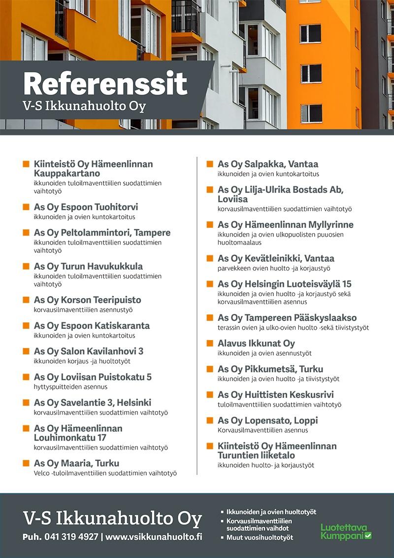 Raitisilmasuodattimien vaihdot - ovien ja ikkunoiden korjaus ja huoltotyöt V-S Ikkunahuolto Oy